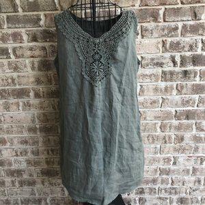 Bellambra Linen Dress Lace Linen Medium Army Green